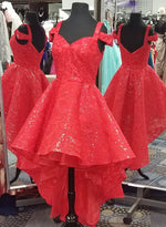 Red sequins lace short prom dress, high low evening dress