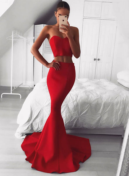 Mermaid red long prom dress, two pieces evening dress