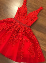 Red tulle lace short prom dress homecoming dress