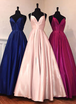 Simple v neck satin long prom dress, evening dress