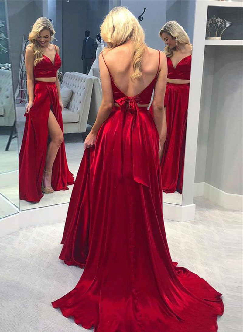 Red satin two pieces long prom dress red evening dress