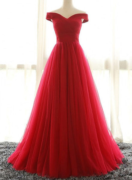 Red A line tulle off shoulder long prom dress, red evening dress