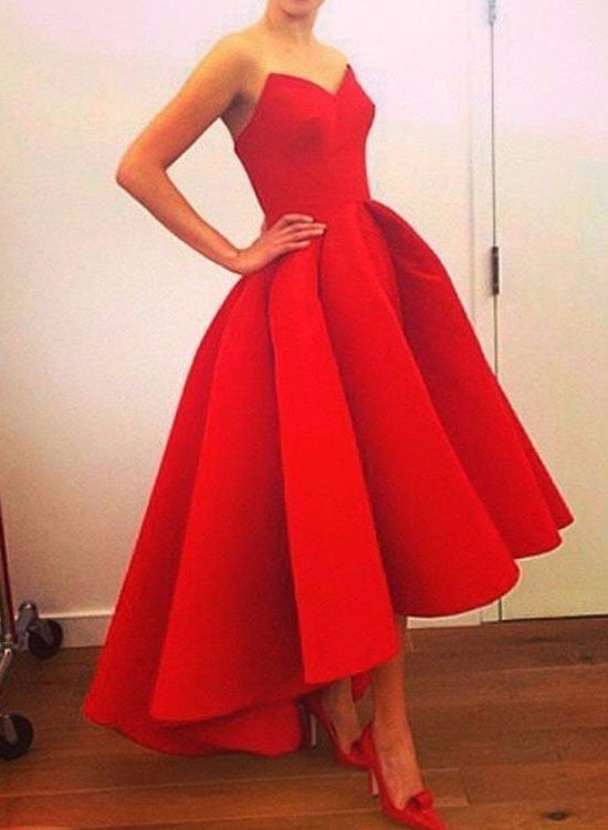 Red high low short prom dress, homecoming dresses