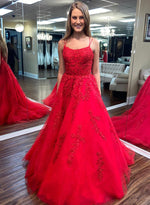 Red tulle lace long prom dress evening dress