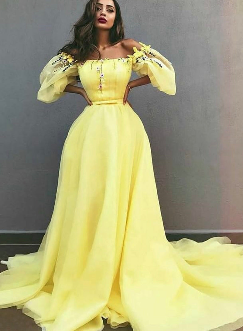 Yellow tulle long prom dress evening dress