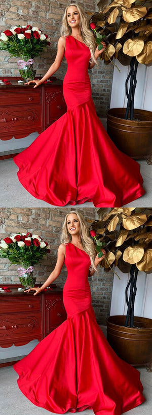 Red mermaid one shoulder long prom dress, red evening dress