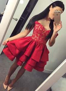 Red sweetheart neck lace short prom dress, homecoming dresses