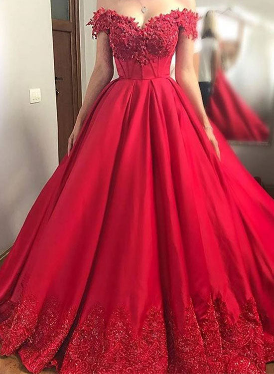 Red lace off shoulder long prom dress, lace evening dress