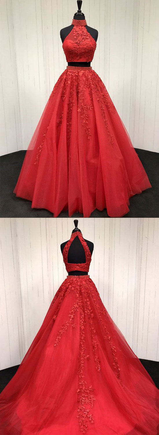 Red two pieces lace tulle long prom dress, red evening dress