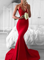 Red mermaid lace sequins long prom dress, red evening dress