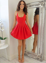 Simple A line red short prom dress, homecoming dress