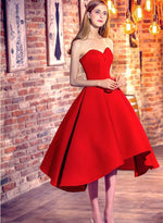 Red sweetheart neck high low prom dress, evening dress