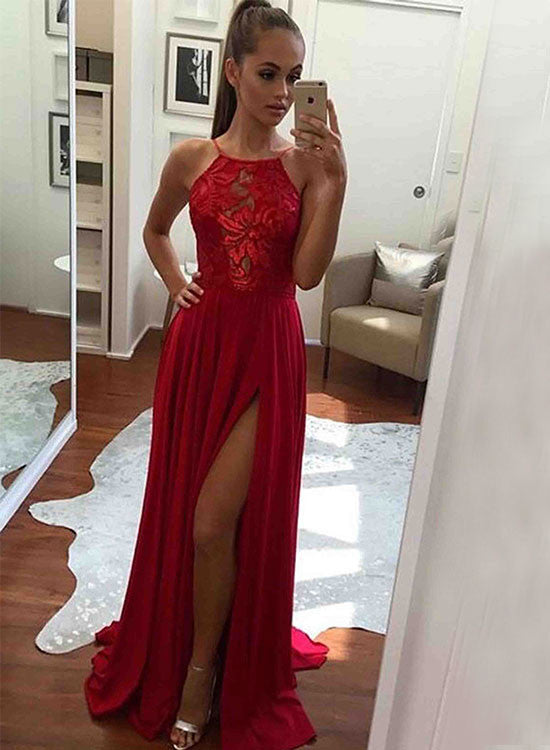 Red A line chiffon lace long prom dress, red evening dress