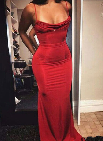 Red mermaid long prom dres, red evening dress