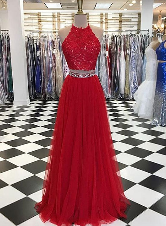 Red two pieces long prom dress, red evenin gdress
