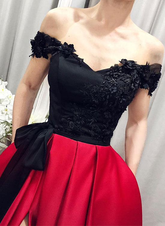 2a00a8a09006 ... Unique black and burgundy long prom dress