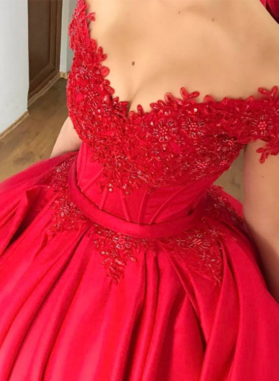 Red lace long prom gown, red evening dress