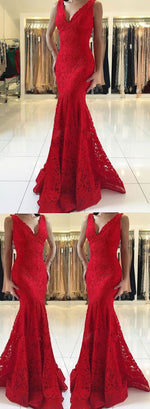 Red v neck lace long prom dress, mermaid evening dress