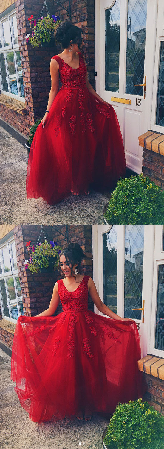 Red v neck lace tulle long prom dress, red evening dress