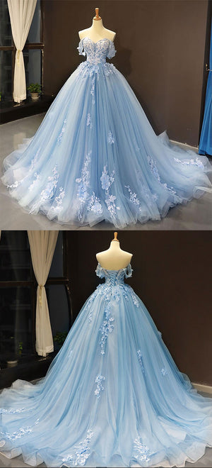 Blue tulle lace long prom gown, blue evening dress