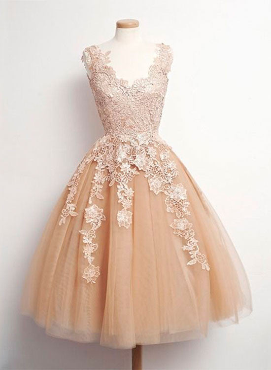 Retro tulle lace short prom dresses, lace homecoming dress