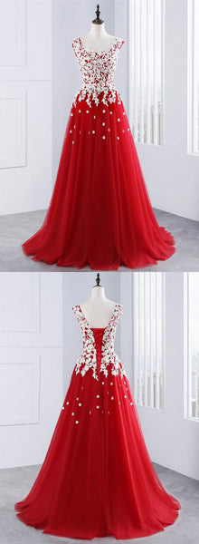 Red lace tulle long prom dress, red evening dress