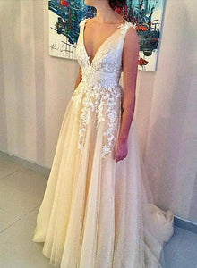 Champagne v neck tulle lace long prom dress, evening dress
