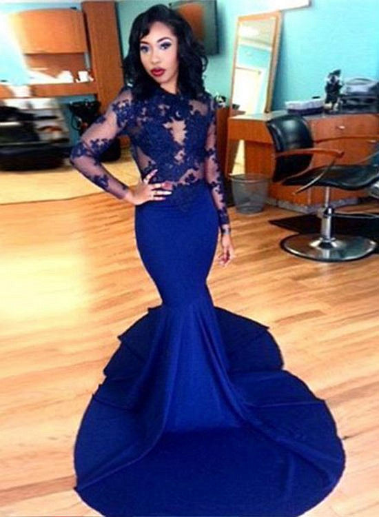 Royal blue lace long sleeve prom dress, mermaid formal dresses