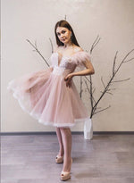 Pink tulle off shoulder prom dress party dress