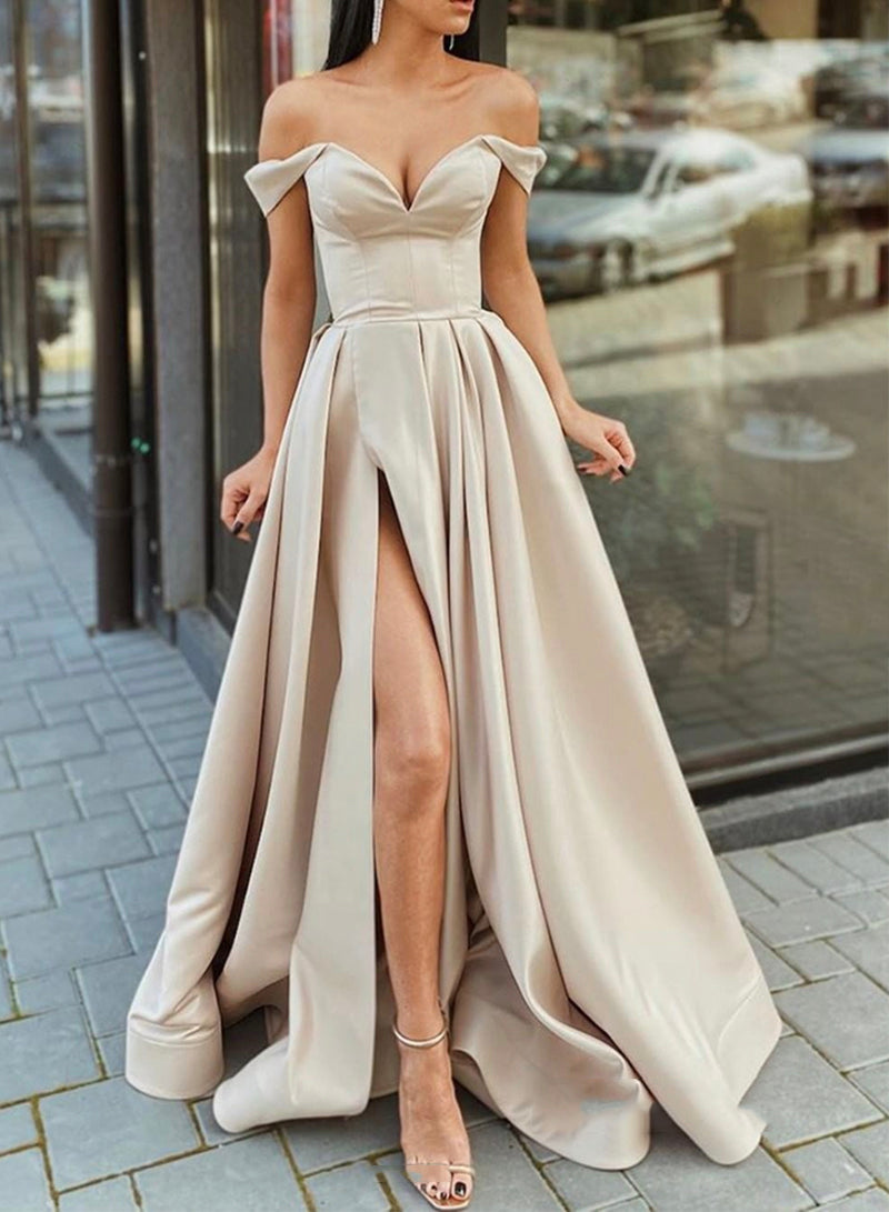 Simple satin long prom dress A line evening dress
