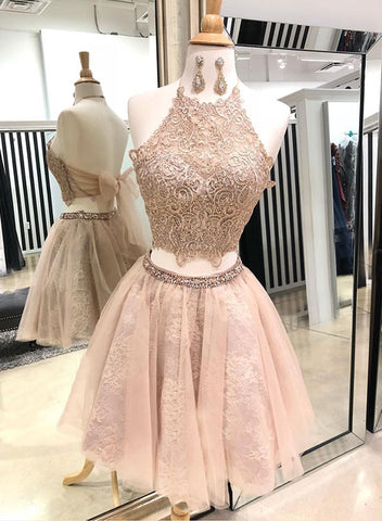Cute two pieces lace tulle short prom dress, homecoming dress
