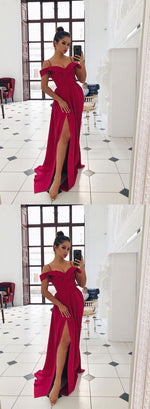 Red v neck chiffon long prom dress, red evening dress