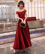 Burgundy satin long prom dress evening dres