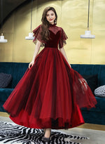 Burgundy velvet tulle prom dress party dress