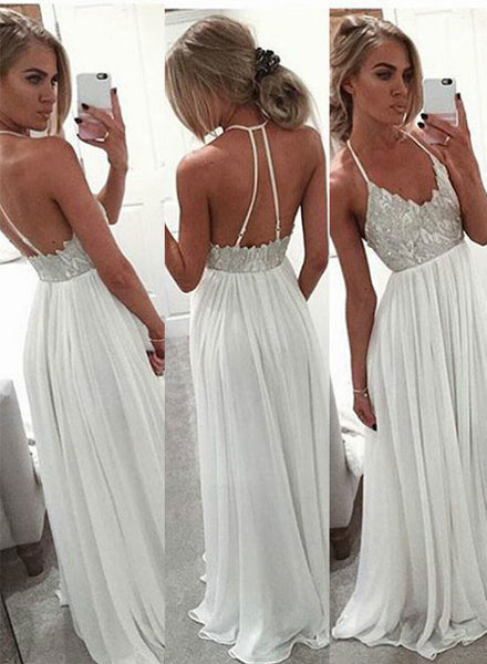 White A line chiffon sequin long prom dress, formal dress