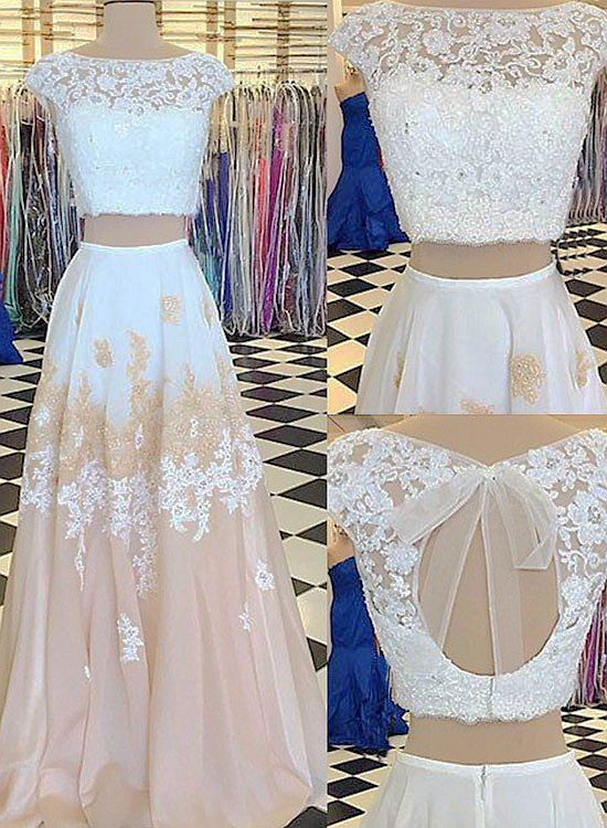 Unique white and champagne lace long prom dress, two pieces dress