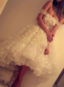 White lace high low prom dress, homecoming dresses