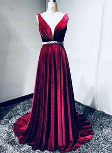 Burgundy v neck velvet long prom dress, formal dress