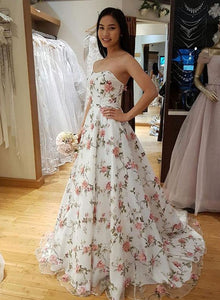 White 3D flower tulle long prom dress, evening dress