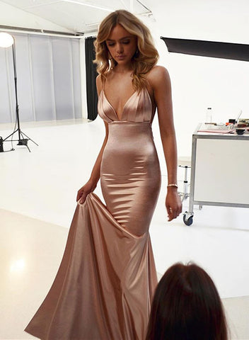Mermaid v neck long prom dress, evening dress
