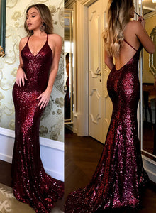 Sexy burgundy sequins long prom dress, mermaid evening dress