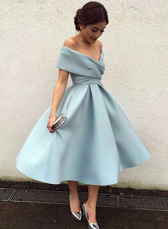 ea9a72f8eae Cute light blue off shoulder short prom dress