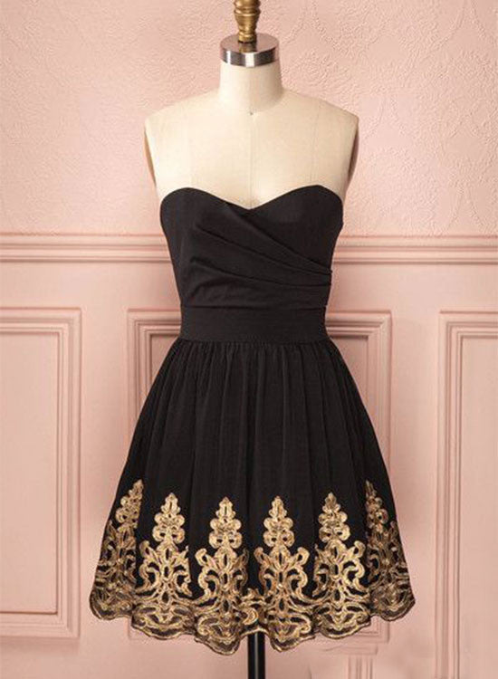 Cute black and gold lace short prom dress, homecoming dress