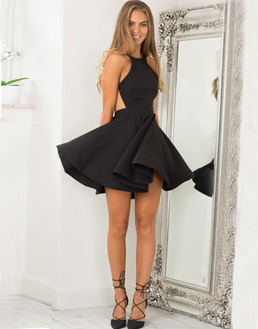 Simple black short prom dress, homecoming dress