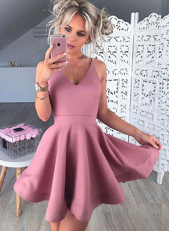 Cute v neck short prom dress, homecoming dresses