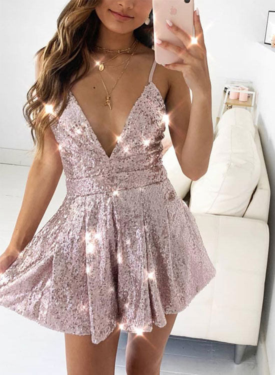 Cute v neck sequins short prom dress, evening dress