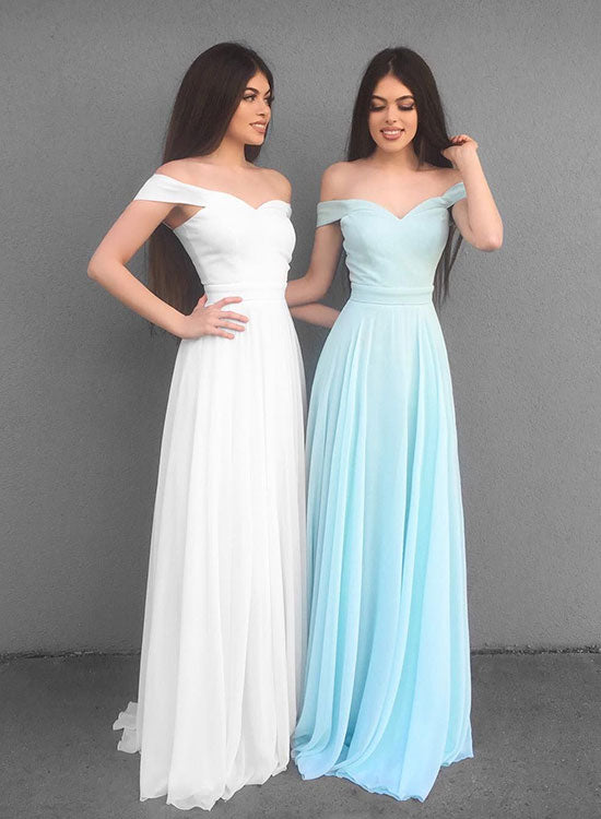 Simple A line chiffon v neck long prom dress, evening dress