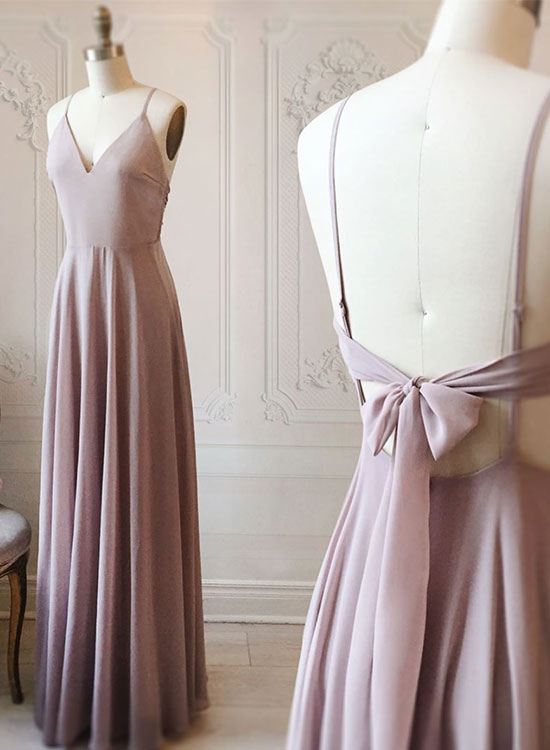 Simple v neck chiffon long prom dress, evening dress