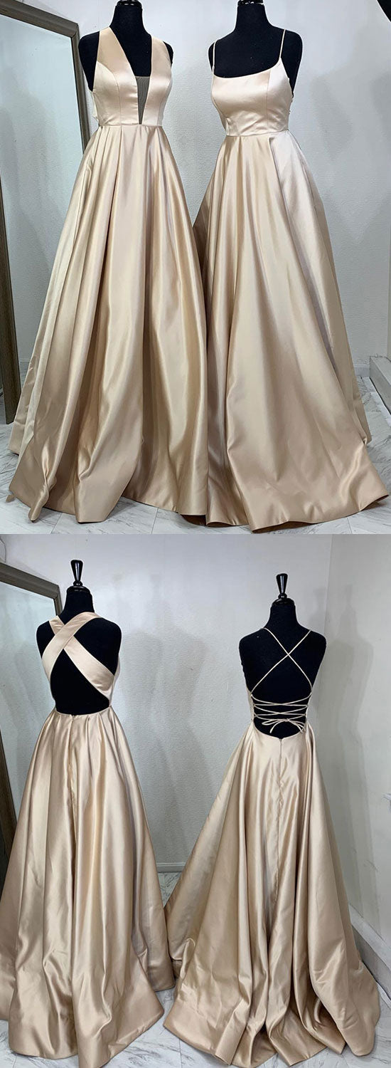 Simple satin long prom dress, evening dress