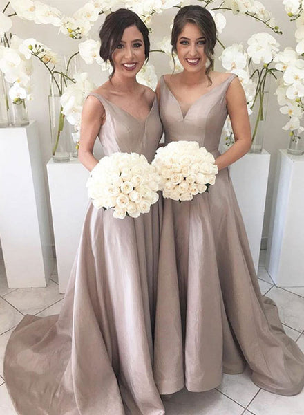 Simple v neck long prom dress, bridesmaid dress